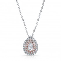 Pear Shape Diamond Halo Necklace With 1/2 CTW