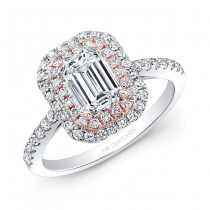 Classic Emerald Cut Halo Ring in Rose Gold