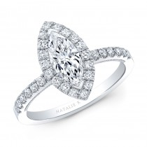 Marquise Cut Diamond Halo Engagement Ring .71cts