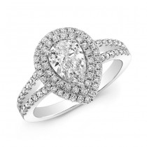 Pear Shape Double Halo Engagement Ring