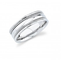 Mens Wedding Band With Rope Trim