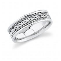 Mens Wedding Ring With Hand Made Rope Trim