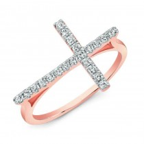 Modern Rose Gold Diamond Cross Ring