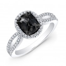White Gold 1.10ct Oval Black Diamond Ring