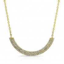 14K Yellow 3 Row Diamond Curved Bar Necklace