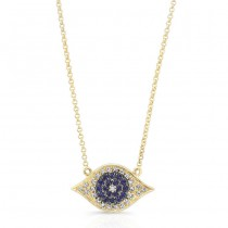 Yellow Gold Black Diamond Evil Eye Necklace