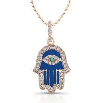Diamond Hamsa-Dark Blue Enamel-14K Yellow Gold
