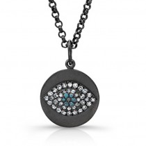 Blue Diamond Evil Eye Pendant-925 Silver Blk