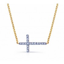 Yellow Gold Sideways Diamond Cross Necklace .14CTW