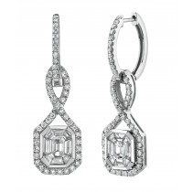14k White Gold EmeraldStar Diamond Earrings