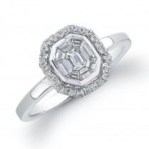 14k White Gold Diamond Mosaic Ring 0.40CTW