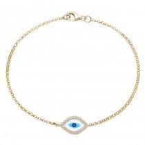 Yellow Gold Enamel Evil Eye Bracelet 22226-Y