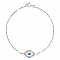14k White Gold  Diamond Evil Eye Bracelet 23785-W