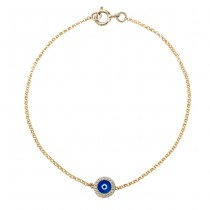 14k Yellow Gold Diamond Dark Blue Enamel Evil Eye Chain Bracelet