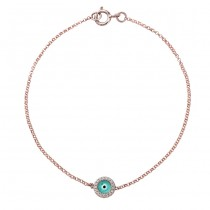 14k Rose Gold Diamond Turquoise Blue Enamel Evil Eye Chain Bracelet