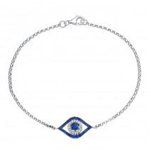 White Gold Sappihire Evil Eye Bracelet 25205S-W