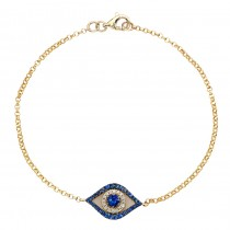 Yellow Gold Evil Eye Bracelet with White Diamonds and a Blue Sapphire Center