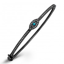 Black Sterling Silver Diamond Turquoise Evil Eye Bangle