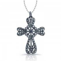 14K White Vintage Diamond Cross With Black Rhodium 1/4CTW