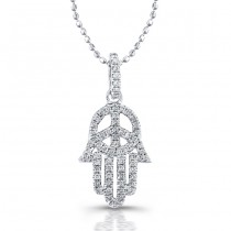 Silver Diamond Peace Sign-Hamsa Pendant