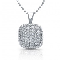 Pave Diamond Necklace With Rope Trim, Sterling Silver