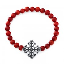 Vintage Diamond Cross With Coral Beads