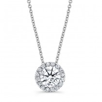 Diamond Halo Necklace With 1 CTW