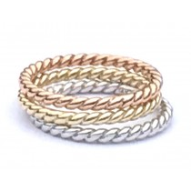 14K yellow-white-rose gold twisted rope stacking rings