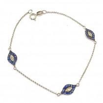 White Gold Sapphire Three Evil Eye Bracelet