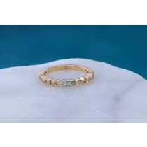 14k yellow gold blue topaz band