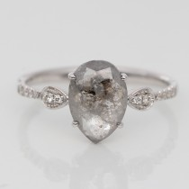 Pear Salt and Pepper Engagement Ring
