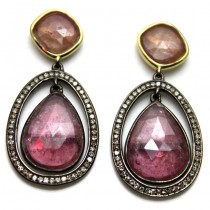 Multi Color Rose Cut Sapphire-Brown Diamond Drop Earrings
