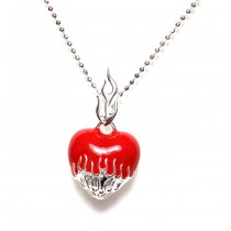 Red Enamel Flaming Heart