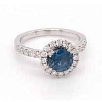 14K WG Saphire Halo Ring