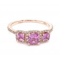 14K WG Three Stone Pink Sapphire Ring