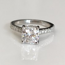 Custom Made Hidden Halo Engagement Ring