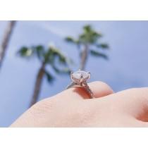 14k White Gold Hidden Halo Engagement Ring