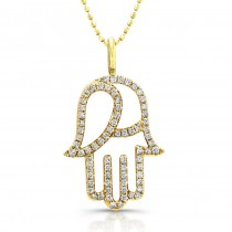 Coby Madison Yellow Gold Diamond Hamsa Necklace