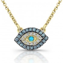 14kt Yellow Gold White-Blue Diamonds Evil Eye Neckace