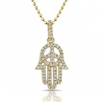 Diamond Hand of Peace- Hamsa Pendant-14k Yellow