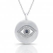 Evil Eye Diamond Disc Necklace, Sterling Silver