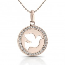14k Rose Gold Diamond Dove Disc Necklace