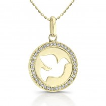 14k Yellow  Gold Diamond Dove Disc Necklace