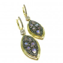 6.5 Carats Moonstone - Diamond Earrings