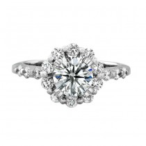 14k White Gold Classic Diamond Halo Engagement Ring NK18960-W