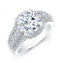 18k White Gold Halo Inspired Pave and Prong Diamond Engagement Ring