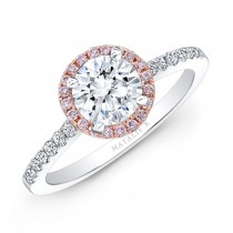 18k W-R Gold Pink and White Diamond Halo Ring .74Ct Center