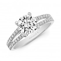 Natalie K  18K White Gold 2 Row Engagement Ring