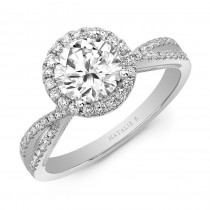 Natalie k Criss Cross  shank round halo engagement ring