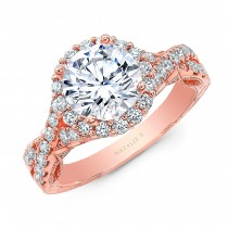 18K ROSE GOLD NATALIE K ROUND HALO VINTAGE ENGAGEMENT RING
